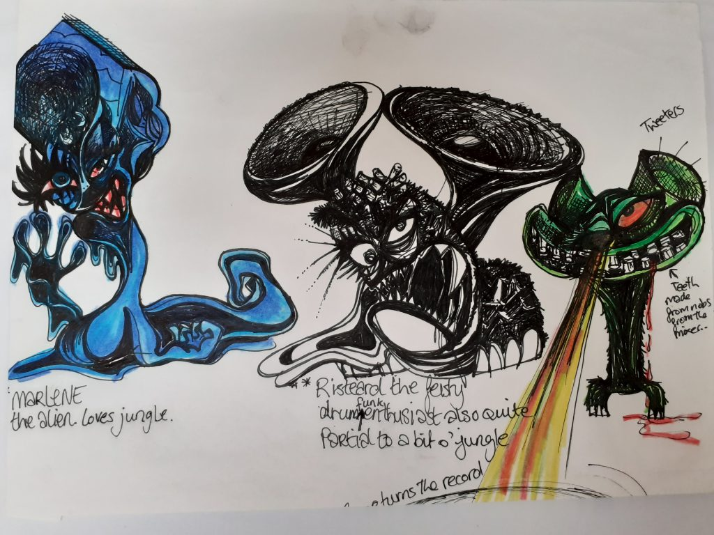 Bustle beats concept art depicting three aliens.